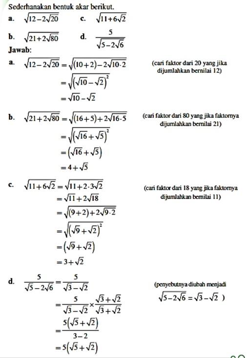 Contoh Soal Merasionalkan Penyebut : contoh, merasionalkan, penyebut, Matematika, Kelas, Merasionalkan, Penyebut, Bentuk