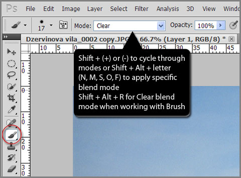 Change blend mode for selected tool from keyboard in Photoshop and Photoshop Elements