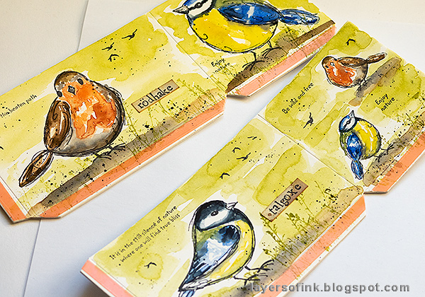 Layers of ink - DIY Watercolor Birds Pen Holder by Anna-Karin Evaldsson. Add grass.