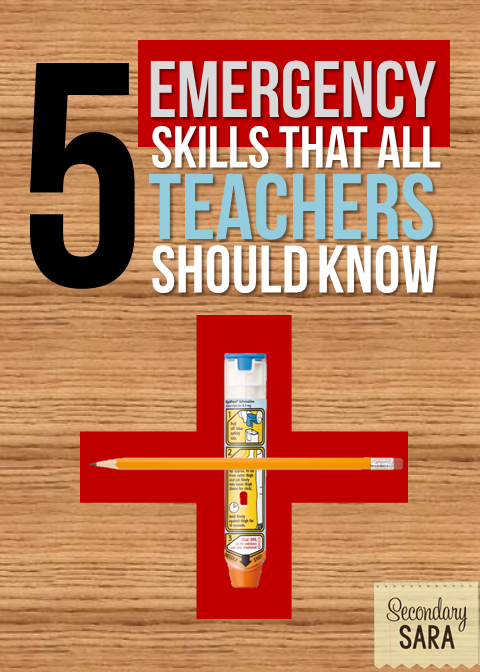 Teachers are responsible for quite a lot, including our students' health and safety during the school day. This post outlines five emergency skills that all teachers should know in the event of an emergency - major or minor - in the classroom. Click through to read more.