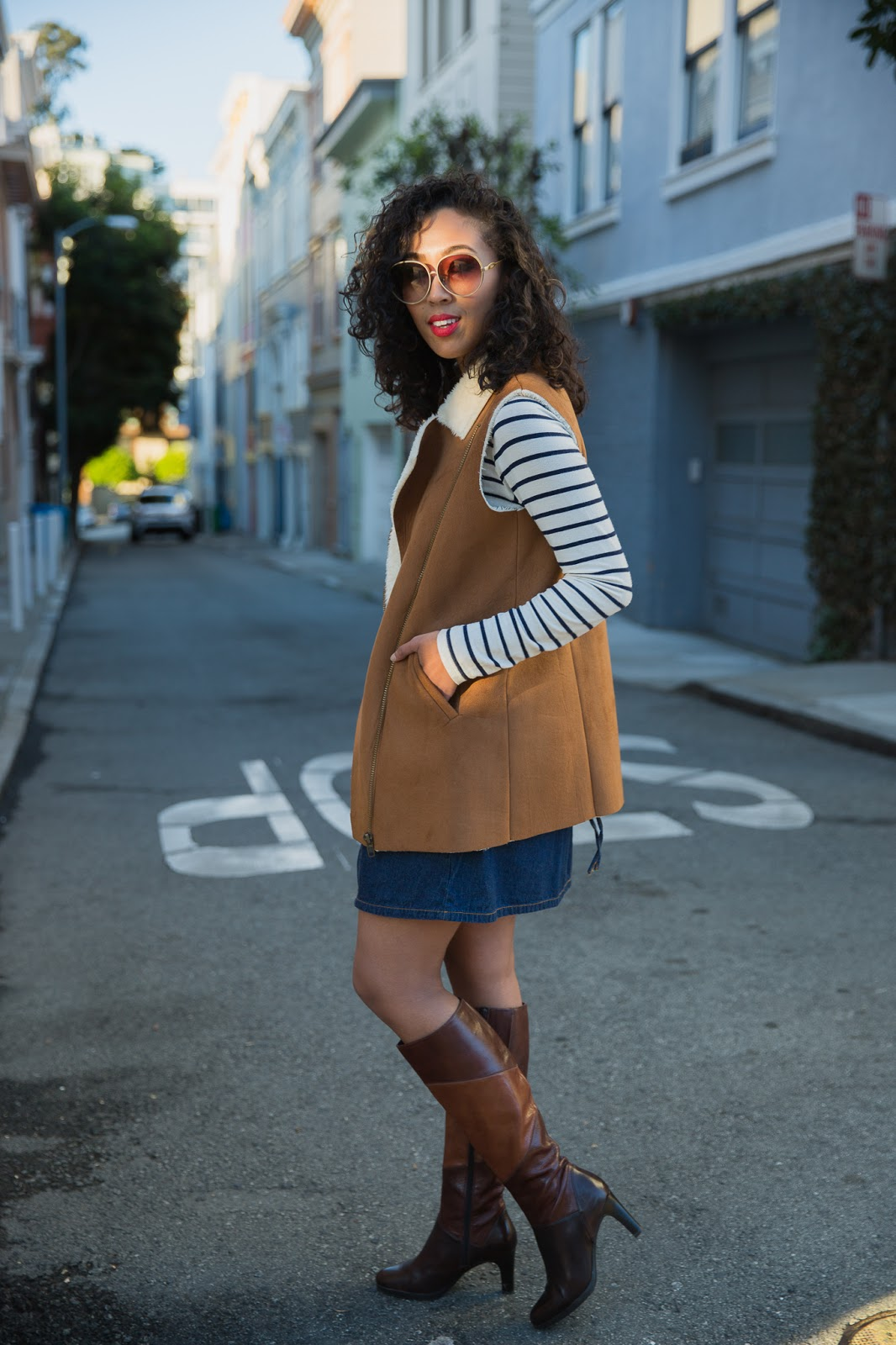 Pancake Stacker wearing Amour Vert Stripe Top, Tobi Denim Dress, Nautralizer Brown Boots and Wildfox Sunglasses