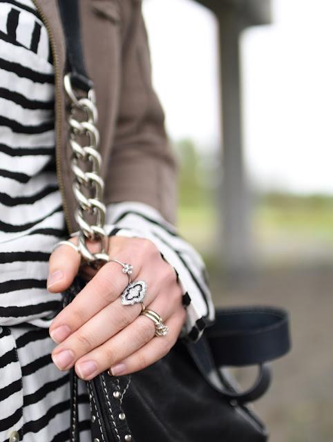 striped shirt dress, bomber jacket, Michael Kors bag, Pandora ring