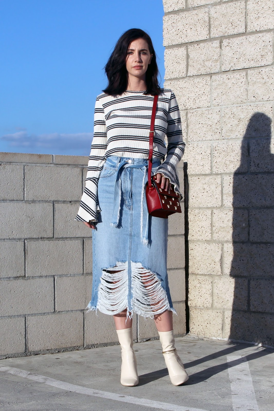 denim midi skirt, flared sleeve top, ankle boots, street style, fall 2016 trends