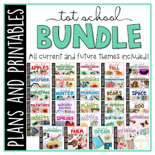 30+ Weeks of engaging themed activities and ideas. Weekly plans include suggested books, fine motor activities, gross motor ideas, sensory bins, snacks and more! Everything you need for a year packed full of Tot School fun and learning.
