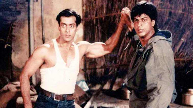 Salman Khan and SRK in a still from Rakesh Roshan's Karan Arjun