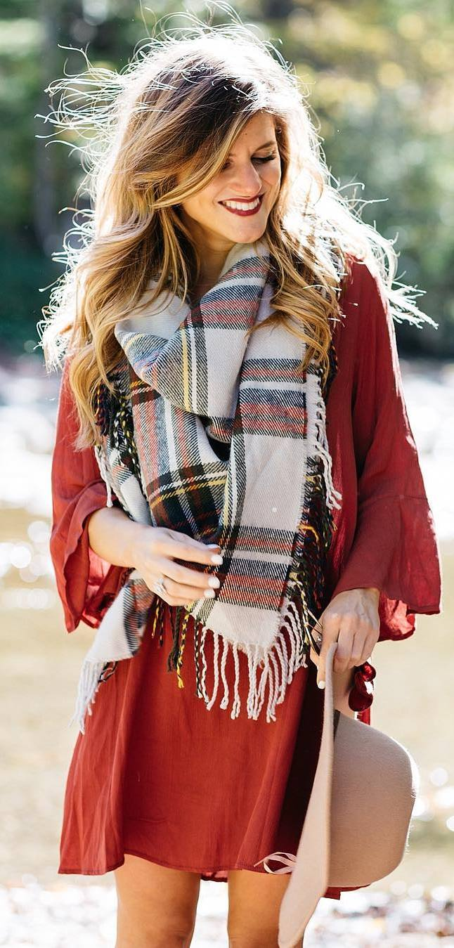 fall outfit of the day | red dress + hat + plaid scarf
