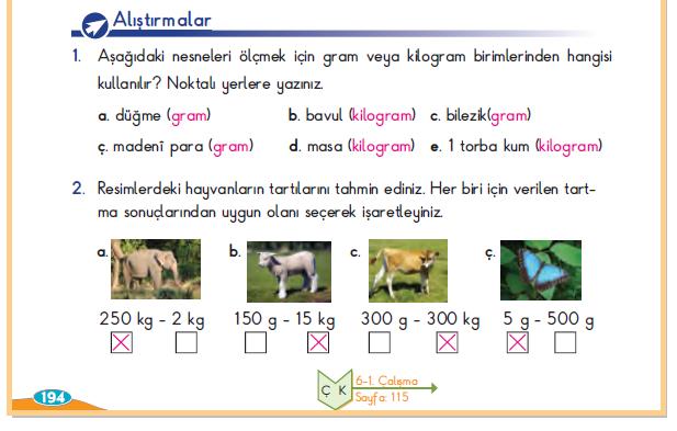 3. Sınıf Berkay Yayınları Matematik Ders Kitabı 194.Sayfa Cevapları Kilogram ve Gram