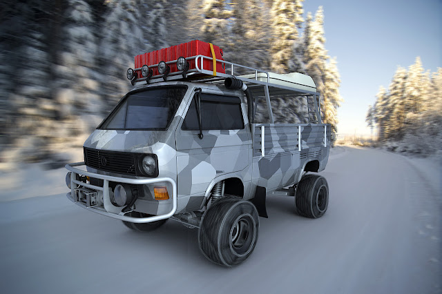 Custom VW T25 / T3 Transporter Pickup with Camouflage Paint and Snow Chains