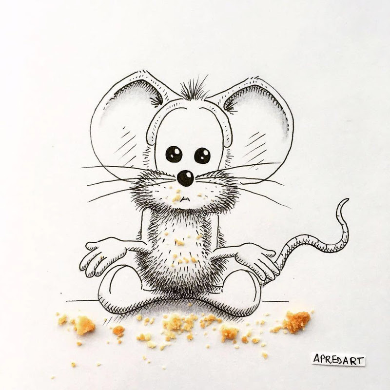 Funny Drawings of a Mouse by Loic Apreda from Switzerland.