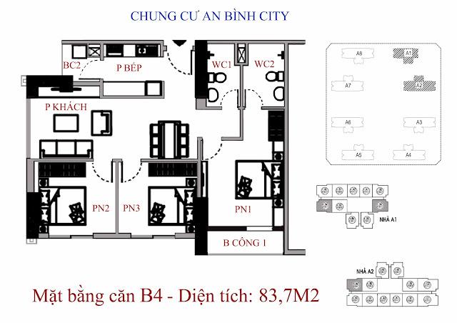 căn hộ B4 diện tích 83,7m2