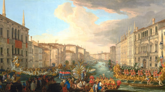 "obra de arte renacentista, pintura al óleo, Luca Carlevarijs, (Italian, 1663–1730), ""Regatta on the Grand Canal in Honor of King Frederick IV of Denmark"", 1711."