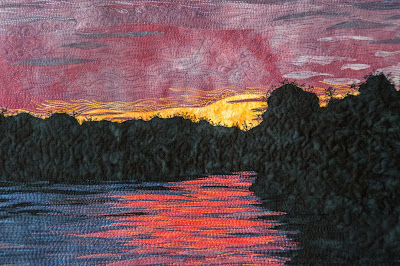 art quilt, sunset on the river, thread painting