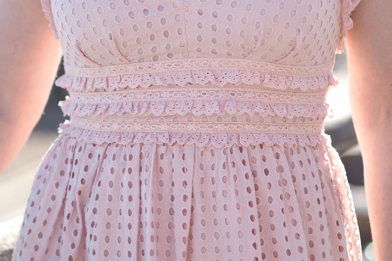 pink broderie anglaise ruffle detail on Topshop midi dress