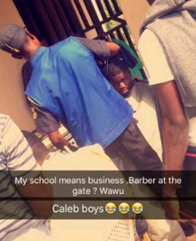 Caleb University students face barber at school gate to cut their afro, punk