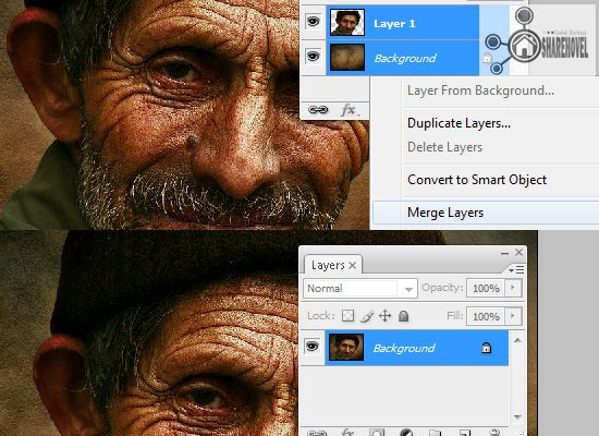 marge layer - tutorial cara membuat efek smudge painting di photoshop