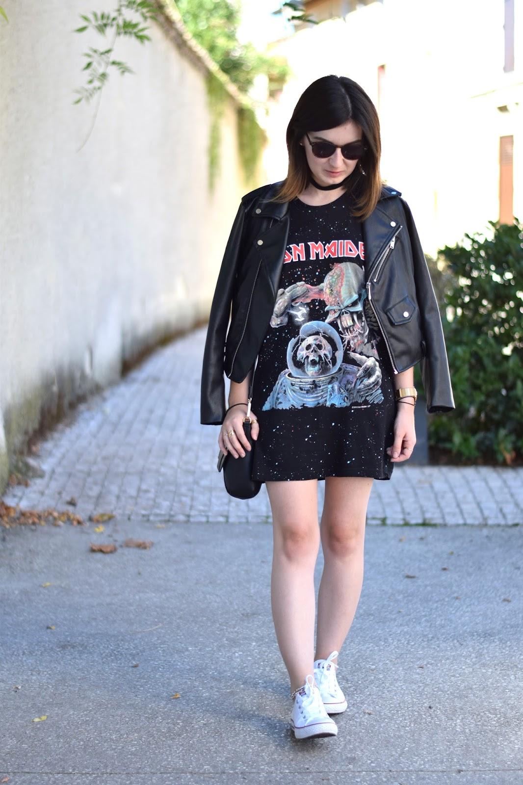 rock outfit dinh van perfecto zara converse