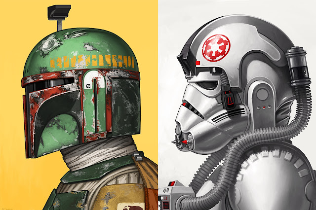 Star Wars Boba Fett & AT-AT Driver Portrait Prints by Mike Mitchell x Mondo