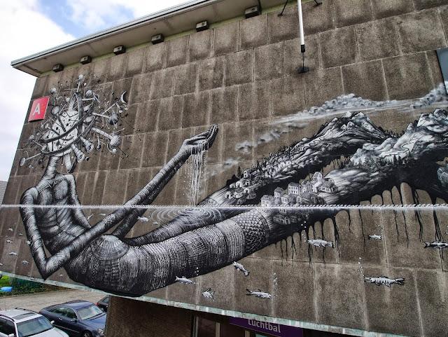 Street Art By Phlegm For Day One Festival In Antwerp, Belgium.