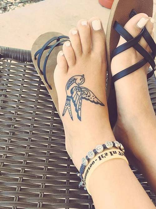 foot upper bird tattoo ayak üstü kuş dövmesi