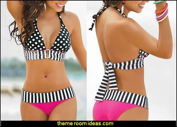 Women's Sexy Summer Stripe Fringe Dotted Triangle Bikini Bathing Suit Swimwear