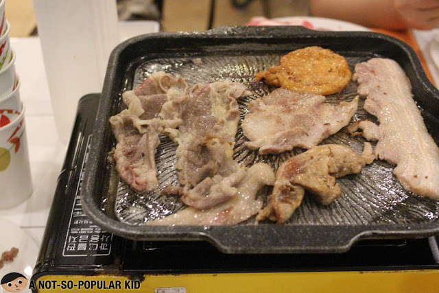 Grilled samgyupsal in Korean Manor Buffet, Baguio