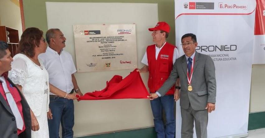 PRONIED: Ministro de Defensa inauguró nuevo colegio José Carlos Mariátegui de Papayal en la región Tumbes - www.pronied.gob.pe