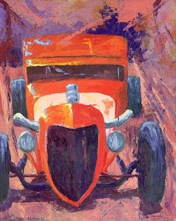 automotive painting hot rod ford abstract palette knife red