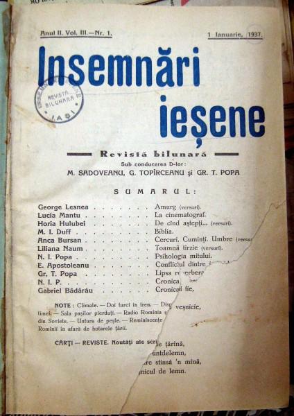 """""""Însemnări ieşene""""(anul 1937)"""
