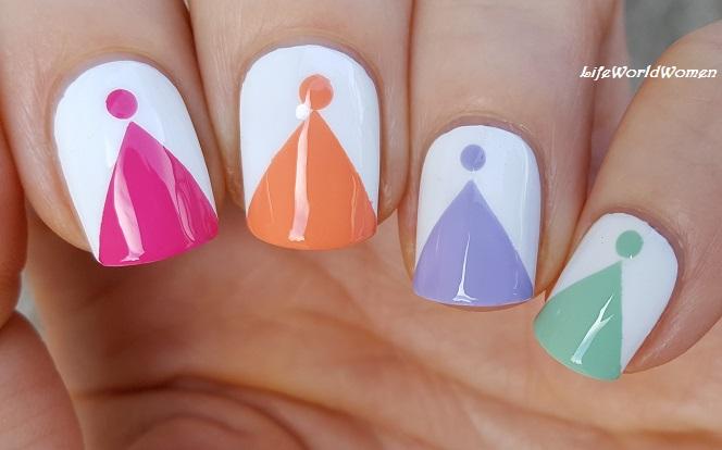 Life World Women Tape Nail Art Colorful Triangle Nail Tips