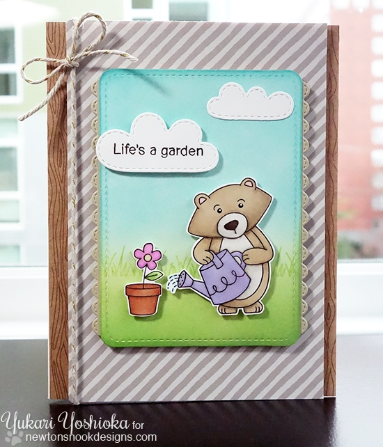Life's a Garden Card by Yukari Yoshioka | Garden Whimsy Stamp set by Newton's Nook Designs #newtonsnook