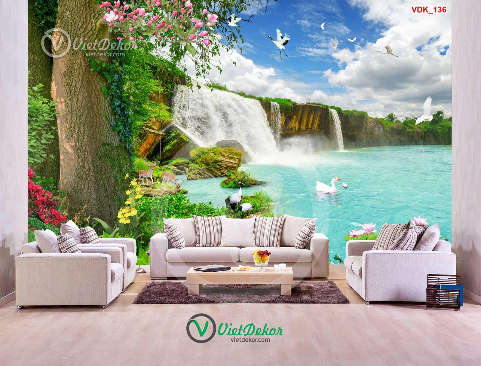 Tranh dán tường 3d cây lớn thác nước lai con