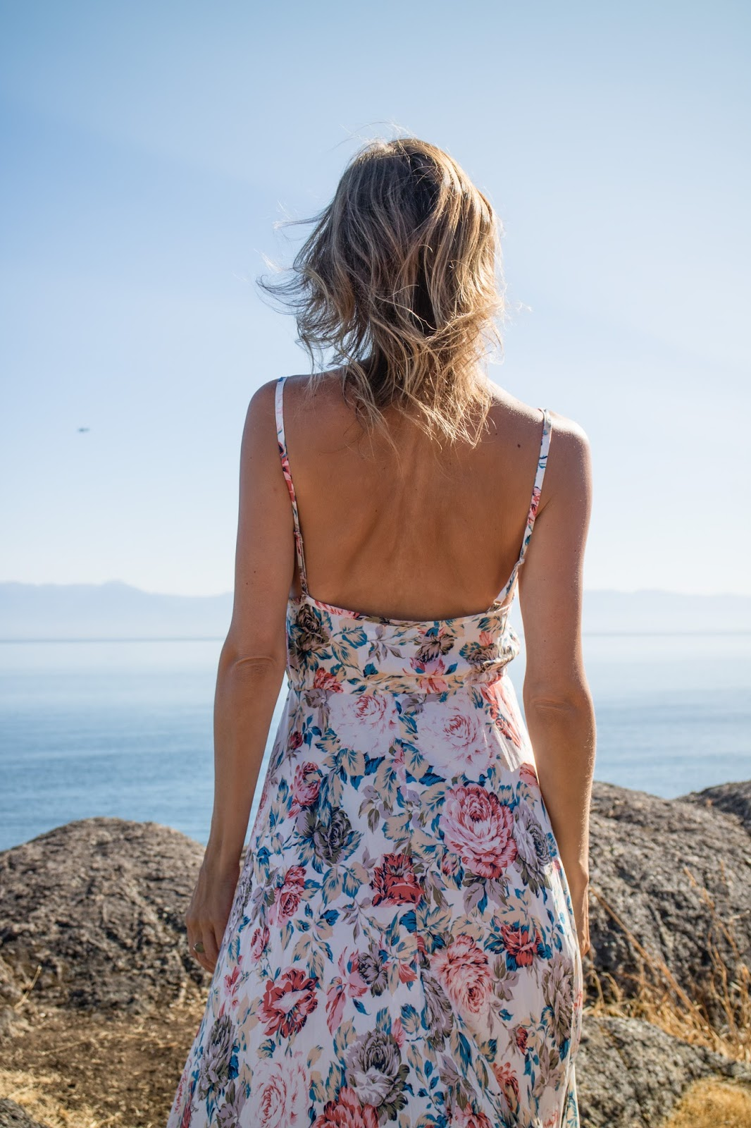 Fashion blogger, Alison Hutchinson, is wearing an Auguste Dress in Victoria, BC, Canada
