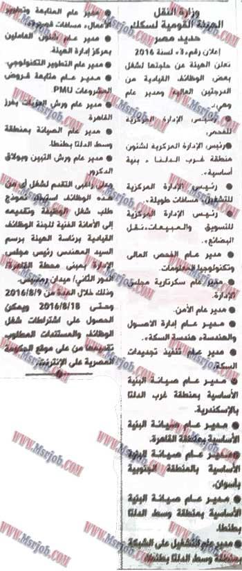 وظائف الهيئة القومية لسكك حديد مصر 2016