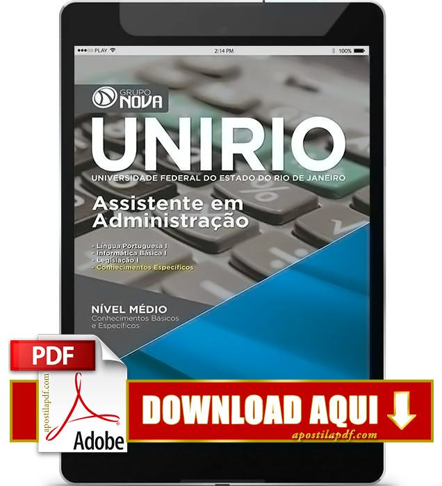 Apostila UNIRIO 2016 PDF Download Assistente em Administração