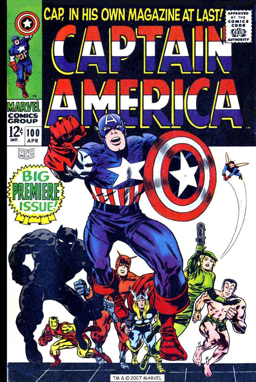 Captain America v1 #100 marvel comic book cover art by Jack Kirby