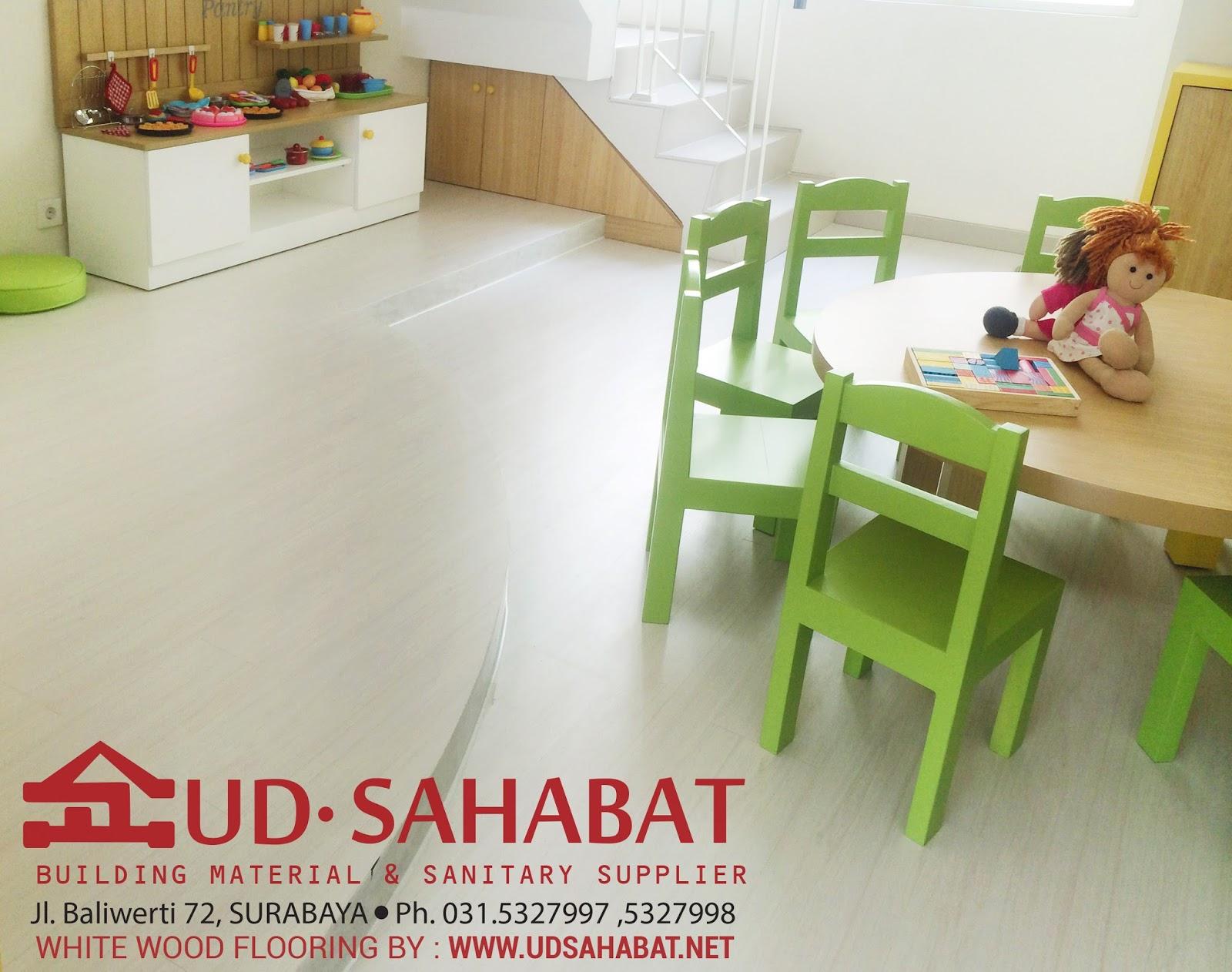 jual wood flooring lantai vinil kayu putih ud sahabat surabaya