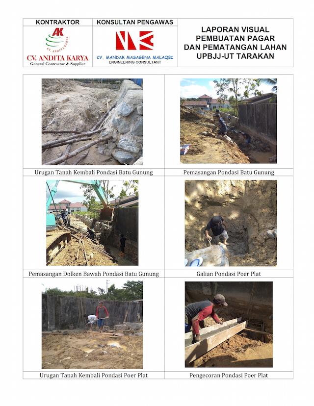 Dokumentasi Pekerjaan Lapangan Dunia Konstruksi UT Tarakan