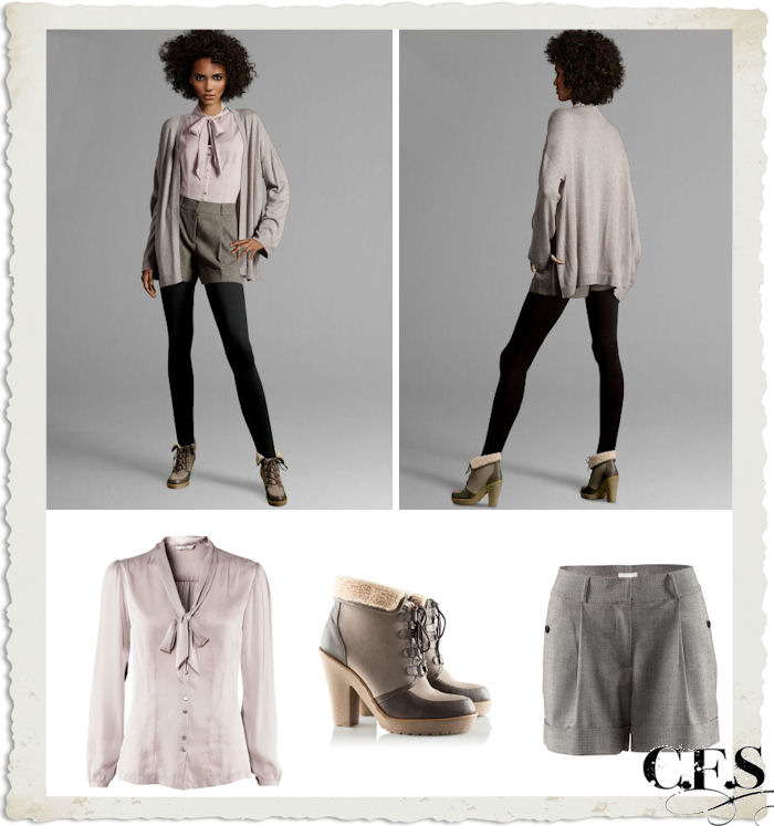 H&M shorts, blusa bianca, cardigan grigio