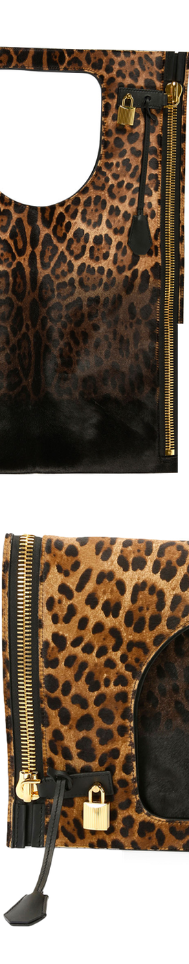 TOM FORD Alix Leopard-Print Padlock & Zip Fold-Over Bag
