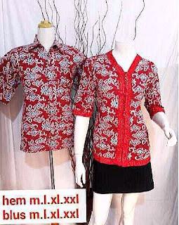 seragam batik blouse mega mendung merah