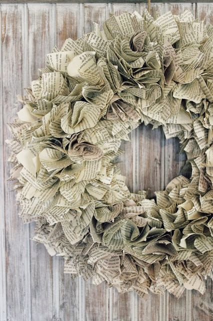 image result for beautiful vintage page paper Christmas wreath