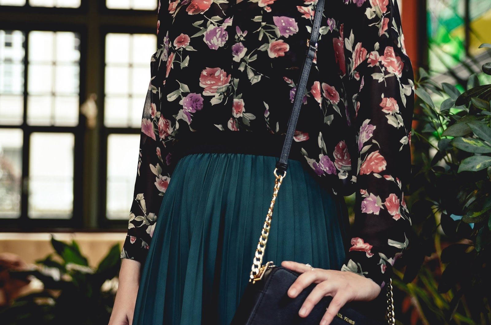 Bottle green frilly skirt, Michael Kors Bag, Flowery shirt, camel coat