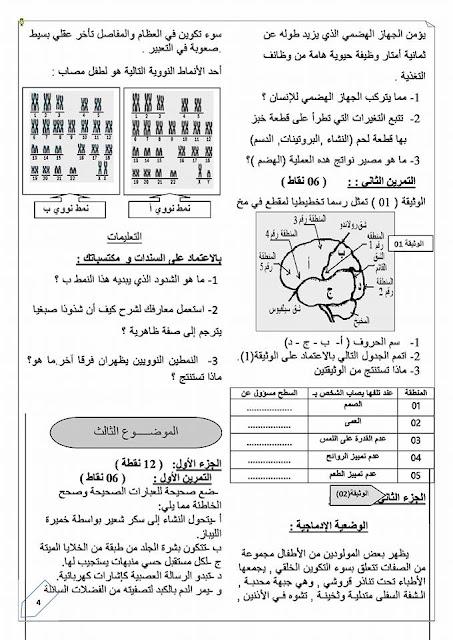 مواضيع فروض و اختبارات للتحضير لامتحانات العلوم الطبيعية السنة الرابعة متوسط
