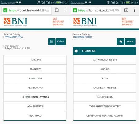 Cara Transfer Saldo Via BNI Internet Banking