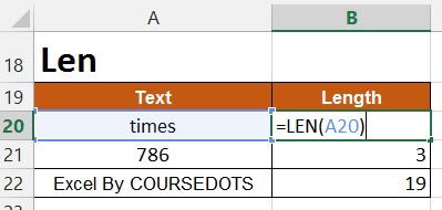 HOW TO USE LEN FUNCTION IN EXCEL