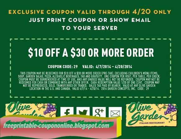 Coupon codes for olive garden