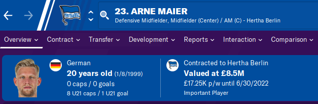 FM20 Wonderkid Analysis - Arne Maier