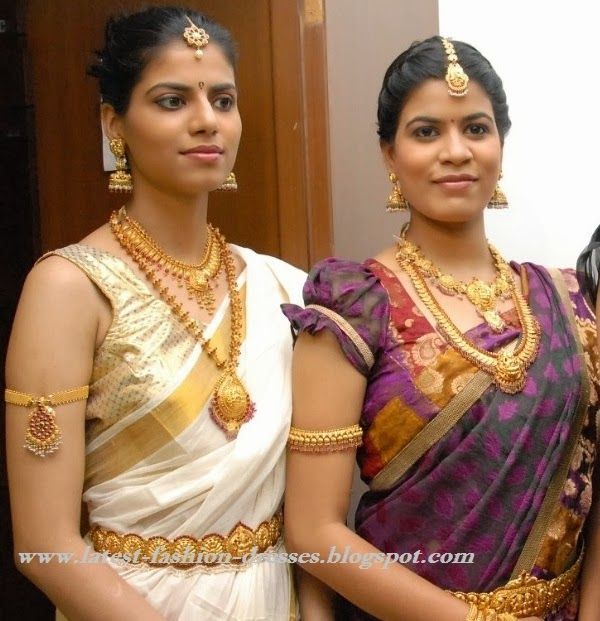 kerala wedding saree with jwell