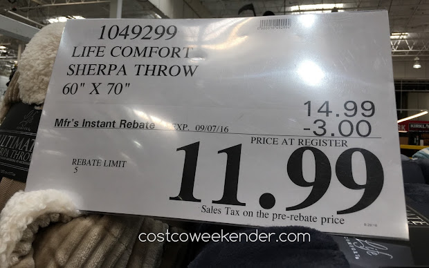 Costco Life Comfort Sculpted Throw Year Of Clean Water