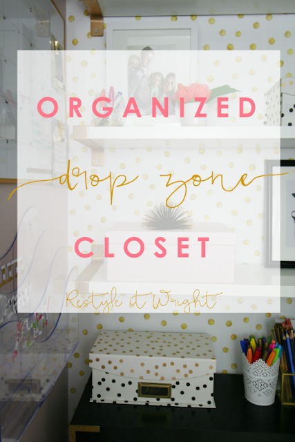 organized drop zone closet with shoe storage, removable wallpaper, ikea shelves, memo board, and command center